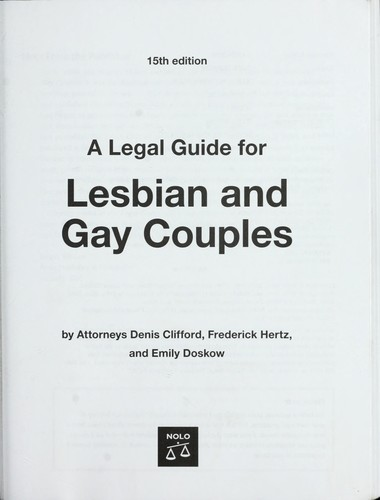 Download A legal guide for lesbian and gay couples