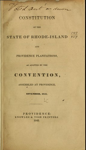 Constitution of the State of Rhode-Island and Providence Plantations