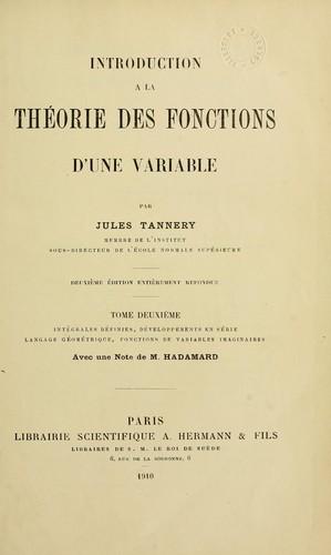 Introduction à la théorie des fonctions d'une variable.