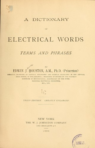 Download A dictionary of electrical words, terms and phrases
