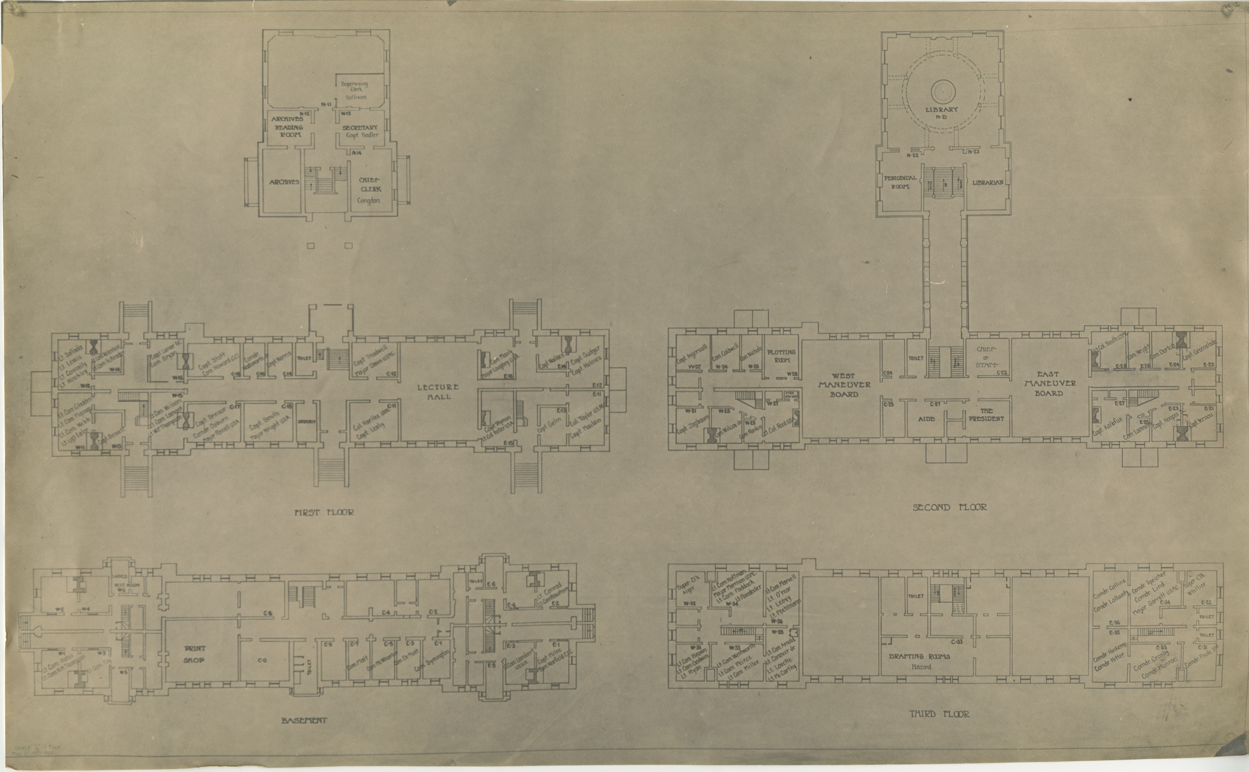 Room Assignments, Naval War College, 1925