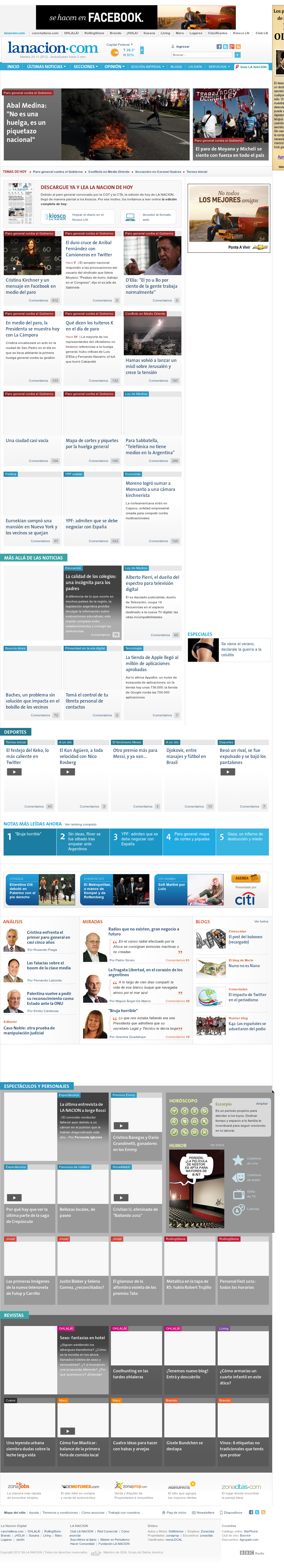 lanacion.com at Tuesday Nov. 20, 2012, 3:20 p.m. UTC