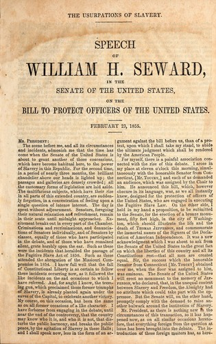 The usurpations of slavery by William Henry Seward