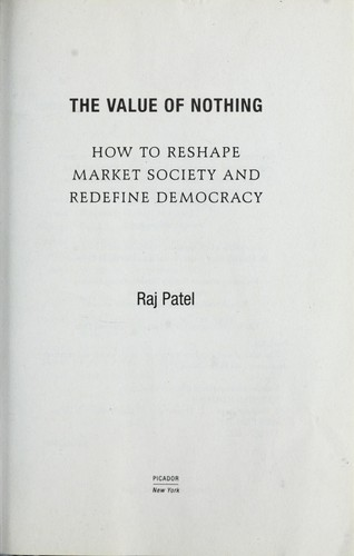 The value of nothing by Raj Patel