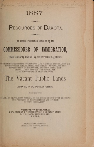 Resources of Dakota by Dakota Territory. Dept. of Immigration and Statistics.