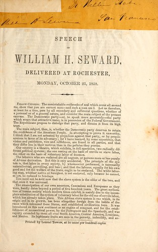 Speech of William H. Seward, delivered at Rochester by William Henry Seward