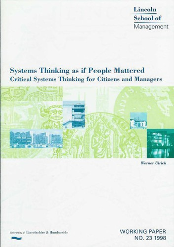 Systems thinking as if people mattered by Werner Ulrich